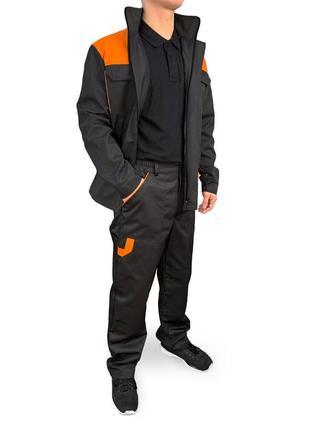 Костюм рабочий ( штаны+куртка ) eva trade pro черный с оранжевым