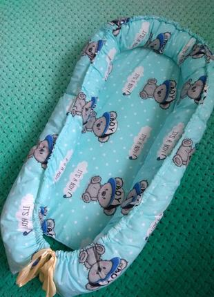 Кокон-гнездышко тедди для новорожденных малишей мальчиков