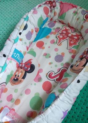 Кокон-гнездышко для новорожденных малышей, девочки, минни