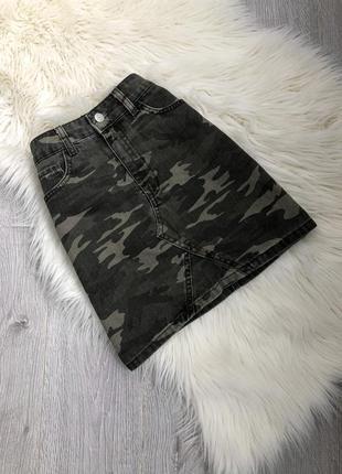 Джинсовая юбка высокая талия стиль милитари