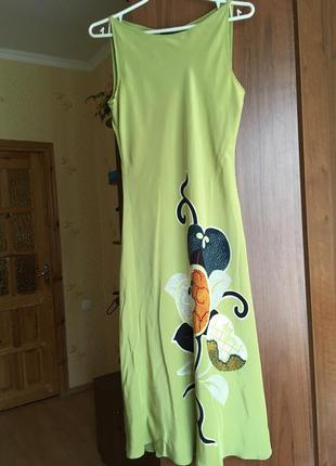 Шовкова оливкова сукня міді linea