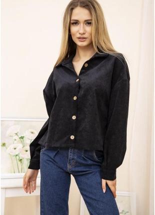 Женская куртка рубашка вельветовая цвет чорный-xs s m l