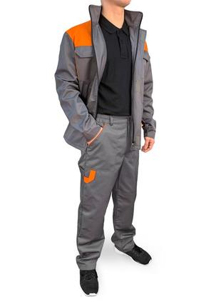 Костюм рабочий ( штаны+куртка ) eva trade pro серый с оранжевым