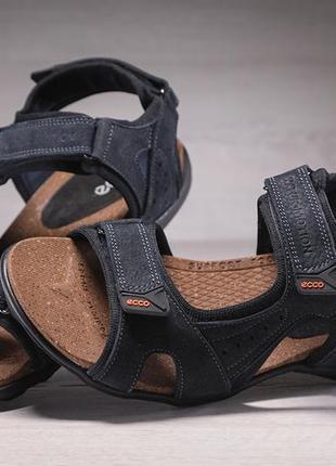 Спортивные кожаные мужские сандалии ecco yak biom denim