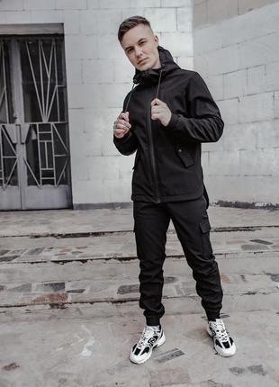 Мужской черный весенний костюм softshell (без утепления) куртка + штани софтшел