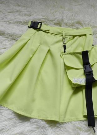 Стильная юбка лимонного цвета с карманом-сумка