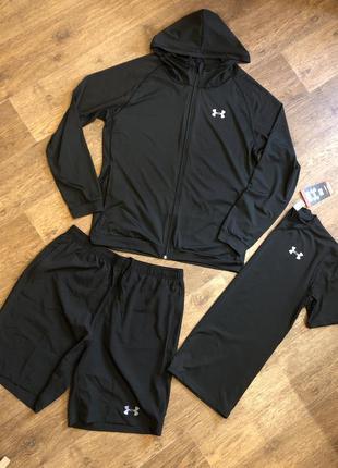 Компрессионная одежда для спорта under armour/костюм для бега 3в1 xl