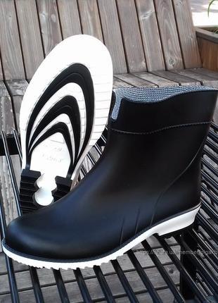 Женские резиновые сапоги черные гумові чоботи резинові 36-41
