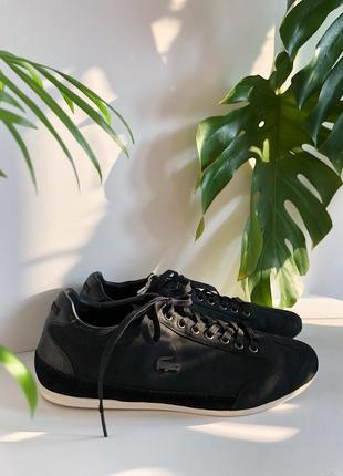 Чёрные кожаные базовые кроссовки lacoste 40 стелька 26