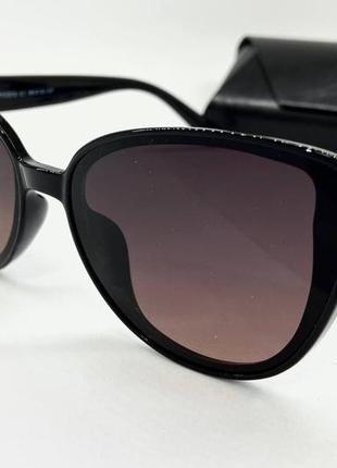 Atmosfera очки женские солнцезащитные поляризованые черные кошечки с коричневыми линзами