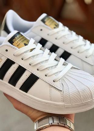 🔥 женские кроссовки adidas superstar, кеды кожаные белые