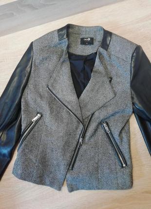 Куртка косуха, пиджак кожзам, жакет, куртка базовая