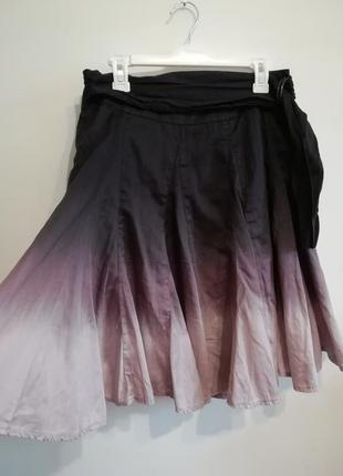 Качественная расклешенная юбка, омбре, хлопок 100%, s-m