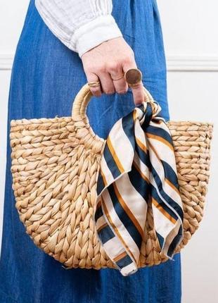 Платок платочек бант лента для волос на сумку топ-качество бежевый зеленый полоска