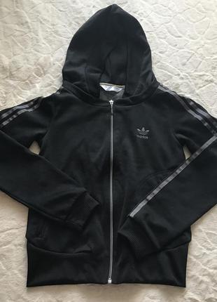 Черная олимпийка на замке с капюшоном adidas originals