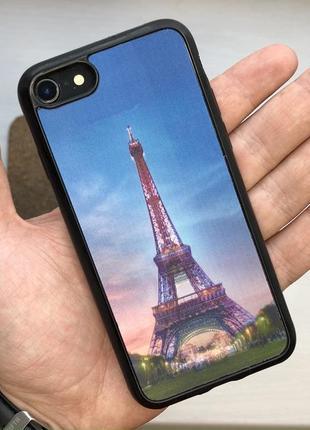 Чехол 3d черный чохол на для айфон iphone 7 / 8 силиконовый с принтом