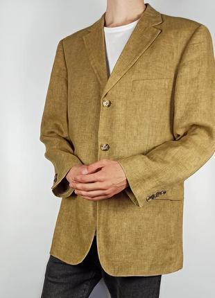 Hugo boss size l льняной пиджак горчичный светло коричневый мужской блейзер