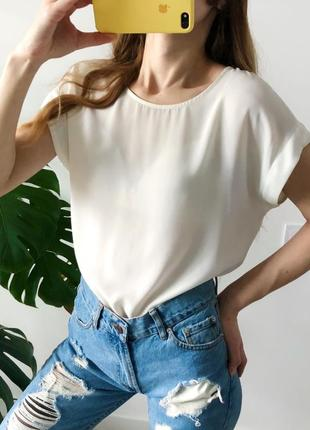 Белая струящаяся блуза бело-кремовая блузка new look