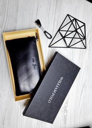Универсальный кожаный чехол кошелек william polo оригинал (195 black) черного цвета