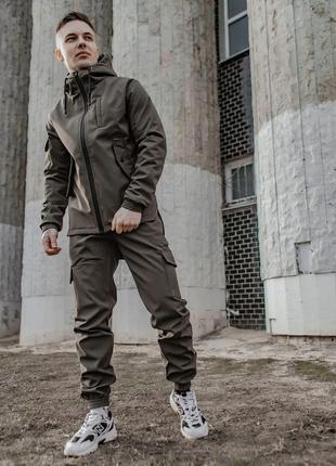 Мужской спортивный костюм хаки softshell (без утепления) весенний/осенний куртка+ штаны