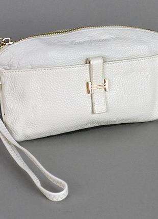 Белый кожаный женский маленький клатч-кошелек на молнии