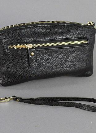 Маленький кожаный клатч кошелек на молнии сумочка через плечо2