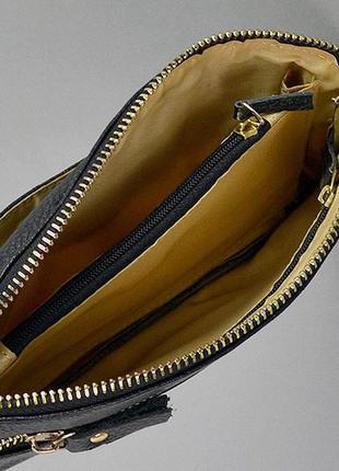 Маленький кожаный клатч кошелек на молнии сумочка через плечо3