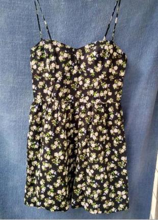 Стильное платье бюстье h&m / платьице солнце с принтом