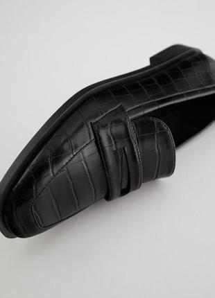 Стильные черные лоферы мюли мокасины зара zara4 фото