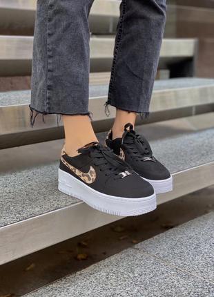 Air force leopard black леопардовые кроссовки