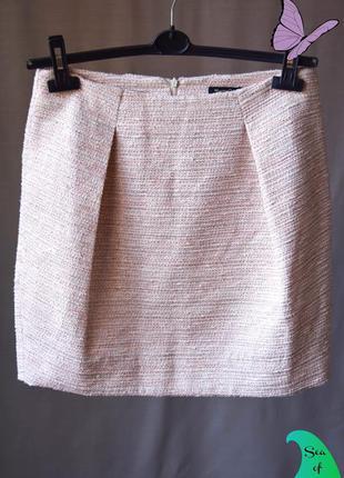 Тёплая мини юбка твид осень-зима