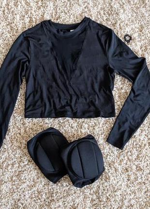 Секси блуза с v-вырезом-сеткой