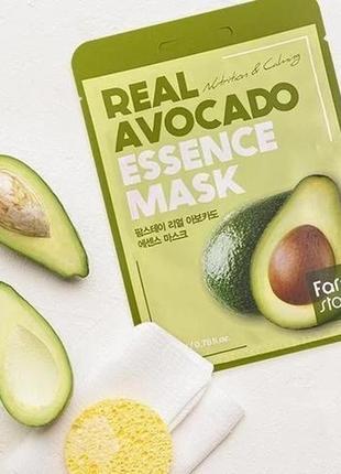 🥑тканевая маска с экстрактом авокадо farmstay real avocado essence mask 1 шт