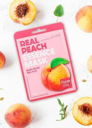 🍑тканевая маска с экстрактом персика farmstay real peach essence mask 1 шт