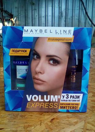 Набор maybelline: тушь volum express и демакияж глаз expert eyes, оригинал