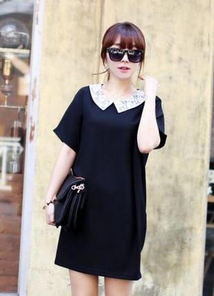 Удлиненная блуза туника с красивым воротничком