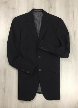 F0  пиджак приталенный черный темный однотонный классический george костюм