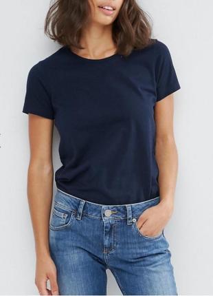Синяя футболка базовая однотонная 100% хлопок размеры