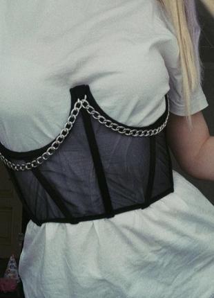 Черный корсет с цепью