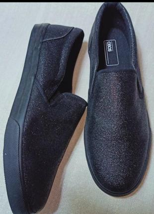 Черные кеды-слипоны с блестками asos размер 41 по стельке 27 см. мокасины. кеды. кеды