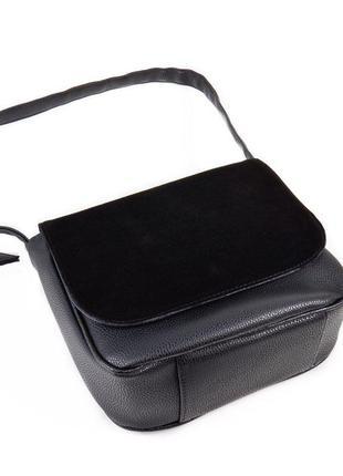 Замшевая сумка женская через плечо кросс боди черная средняя