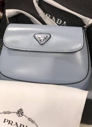 Женская кожаная сумка в стиле prada🔥натуральная кожа голубая