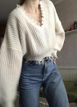Рваный свитер zaful