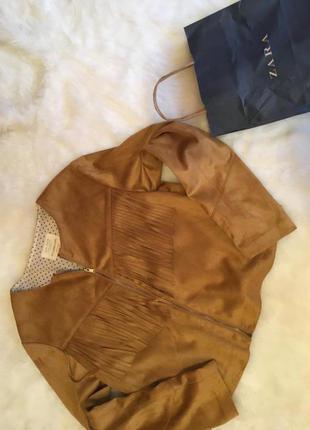 Куртка замшевая с бахромой zara