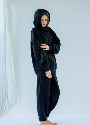 Спортивный костюм женский oversize чёрный тёплый