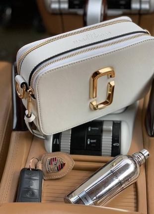Женская сумка в стиле marc jacobs🔥белая - золотая 20*12*7