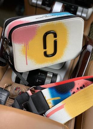 Женская сумка в стиле marc jacobs🔥белая - жёлтая 20*12*7