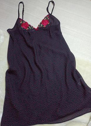 Ночная сорочка на бретелях. ночнушка  . комбинация с вышивкой1 фото
