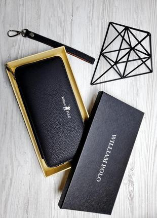 Универсальный кожаный чехол кошелек william polo оригинал (121black) матовый черного цвета