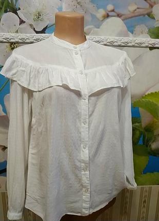 Шелковая винтажная блуза 100% вискоза с рюшей m-l